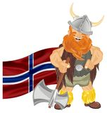Viking and apir of objects. Funny viking with ax and colored flag Stock Photography
