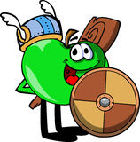 Viking apple with a club and shield Royalty Free Stock Photos