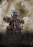 Viking armour poster. Medieval viking slavic battle equipment on the stand. Set of helmet, leather armour, sword, scramasax, axe and belt. Grunge version with vector illustration