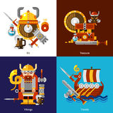 Viking Army Icons Set Image stock