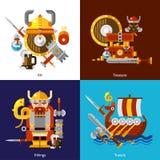 Viking Army Icons Set Stock Image