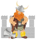 Viking with ax near of castle. Happy viking hold an ax near of castle shadow Stock Photos
