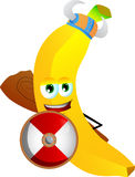 Viking banana with a club and shield Stock Image