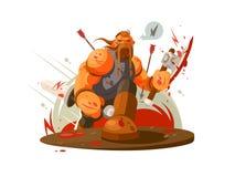 Viking battle with ax vector illustration