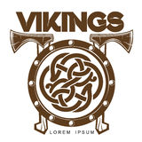 Viking Battle shield with axes Royalty Free Stock Photo