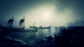Viking Battle Ships Sailing to a Coast