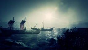 Viking Battle Ships Sailing a una costa ilustración del vector