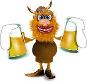 Viking with beer. Illustration merry viking with two mugs of beer Stock Photo