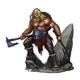 Viking berserker på vit Royaltyfri Foto