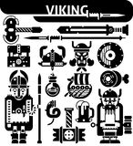 Viking Black White Icons Set Fotografia Stock
