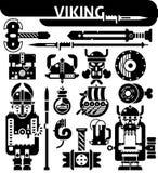 Viking Black White Icons Set Stock Photo