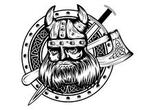 Viking Board Sword And Axe Stock Image