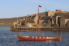 Viking boat. Viking boat at Lerwik, Shetland island stock photos