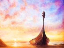 Viking Boat on the beach, painting on canvas, Boat with wood dragon Stock Photos