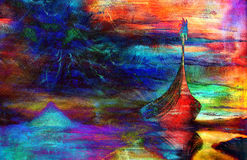 Viking Boat on the beach, painting on canvas, Boat Royalty Free Stock Photography