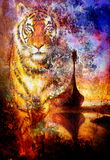 Viking Boat on the beach, and tiger head, collage. Painting on canvas, Boat with wood dragon. structure background, red, orange, yellow, black, violet and blue Royalty Free Stock Images