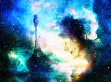 Viking Boat nello spazio e stelle, collage del computer, barca con il drago di legno Immagine Stock Libera da Diritti