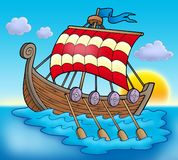 Viking boat on sea. Color illustration Royalty Free Stock Images