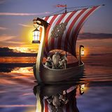 Viking boat in the sea Stock Images