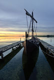 Viking boat. Viking ship in port an early morning Stock Photography