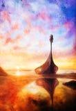 Viking Boat sur la plage, peignant sur la toile, bateau avec le dragon en bois illustration libre de droits