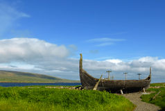 Viking boat on Unst. Replica of a Viking Boat situated at Unst, shetland islands royalty free stock image