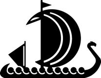 Viking boat. Vector illustrations. For the logo. Black silhouette of a boat on a white background. Suitable for logo, stamp pattern and another stock illustration