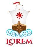 Viking boat, vector logo template Stock Photo