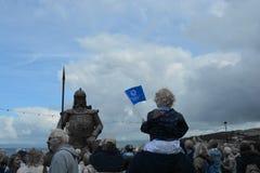 Viking boy. Viking statue Largs commonwealth baton Royalty Free Stock Photography