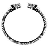Viking bracelet with wolf heads Stock Photography