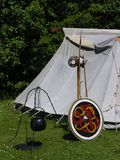 Viking camp. With tent and utensils, at viking fair in Jutland, Denmark stock photo