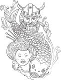 Viking Carp Geisha Head Black and White Drawing. Drawing sketch style illustration of a head of a norseman viking warrior raider barbarian wearing horned helmet Royalty Free Stock Photos
