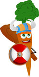Viking carrot with a club and shield Stock Image
