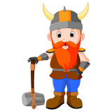 Viking cartoon with a big hammer Stock Images