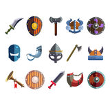 Viking Cartoon Weapon and Equipment. Game icons Stock Photo