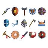 Viking Cartoon Weapon och utrustning Modiga symboler Arkivfoto