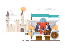 Viking and the castle. Castle and viking with axe sword helmet and medieval shield, flat vector illustration Royalty Free Stock Photography