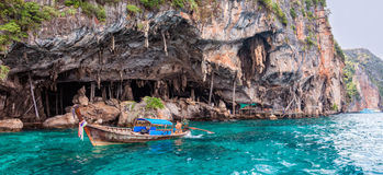Viking Cave on PhiPhi Leh island, Thailand Stock Photos