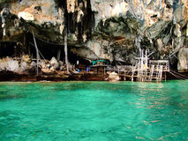 Viking Cave in Thailand Phi Phi Island. With deep green sea Royalty Free Stock Photo