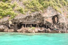Nice view of Viking cave where bird`s nests are collected in Phi-Phi Leh island in Krabi, Thailand royalty free stock image