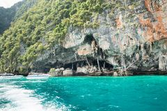 Viking cave where bird's nests  collected. Phi-Phi Leh island in Krabi, Thailand. Stock Images