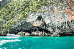 Viking cave where bird's nests (swallow) collected. Phi-Phi island in Krabi, Thailand. Stock Photos