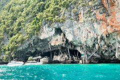 Viking cave where bird's nests (swallow) collected. Phi-Phi Leh island in Krabi Royalty Free Stock Images