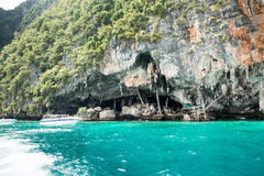 Viking cave where bird's nests (swallow) collected. Phi-Phi Leh island, Thailand. Royalty Free Stock Photo
