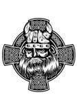 Viking and celtic cross royalty free illustration