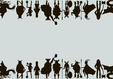 Viking  characters . Vector canvas. Black silhouettes. Viking  characters . Vector canvas. Black silhouette Stock Images
