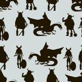 Viking  characters . Vector seamless pattern. Black silhouettes. Viking  characters .Vector seamless pattern. Black silhouette Stock Images
