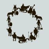 Viking  characters Vector Wreath. Black silhouettes. Viking  characters .Vector wreath. Black silhouette Stock Image
