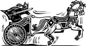 Viking Chariot. Woodcut style image of a Viking riding a chariot royalty free illustration