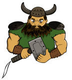 Viking Chief with Hammer Weapon Cartoon Royalty Free Stock Image